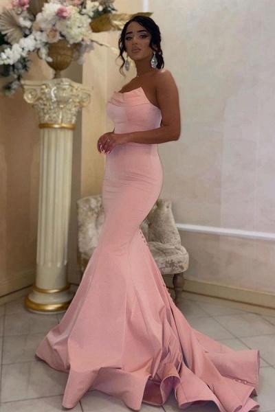 Modest Long Mermaid Strapless Satin Floor-length Prom Dress