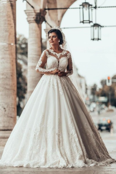 Gorgeous Long A-line Princess Tulle Lace Wedding Dress with Sleeves