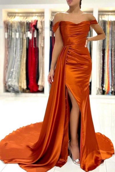 Stunning Long Mermaid Off-the-shoulder Stretch Satin Prom Dress with Slit
