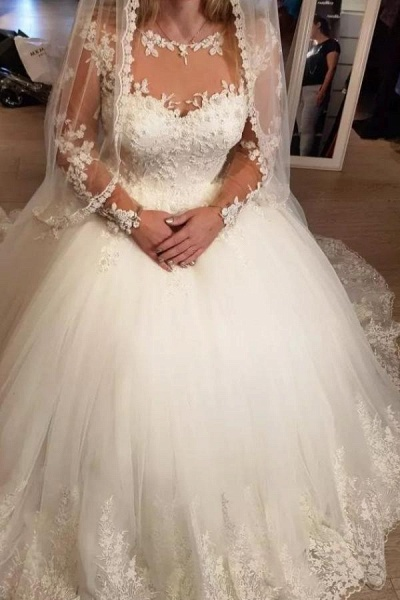 Elegant Long A-line Sweetheart Tulle Wedding Dress with Sleeves