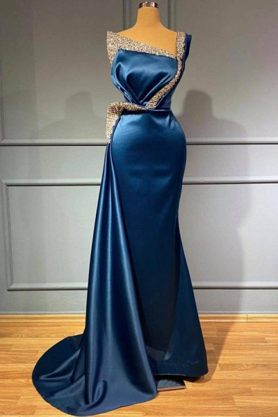 Stunning Long Mermaid One shoulder Stretch Satin Prom Dress with Glitter