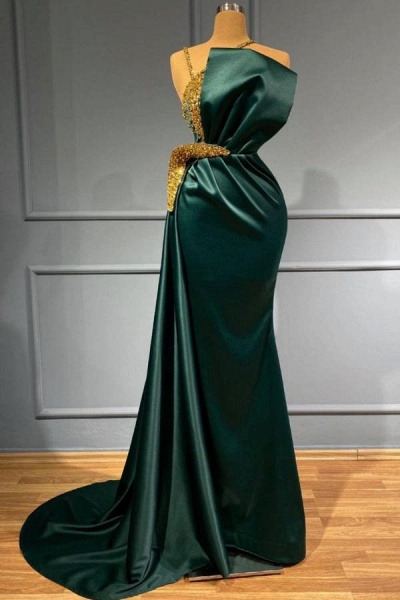 Elegant Long Mermaid Halter Prom Dress with Sparkly Gold Pearls Embellishment