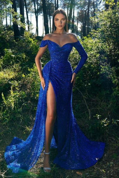 Elegant Long Mermaid Off-the-Shoulder Glitter Prom Dress with Sleeves