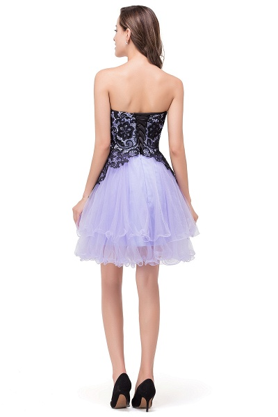 EVALYN | A-line Sweetheart Short Prom Dresses with Bowknot-Sash_3