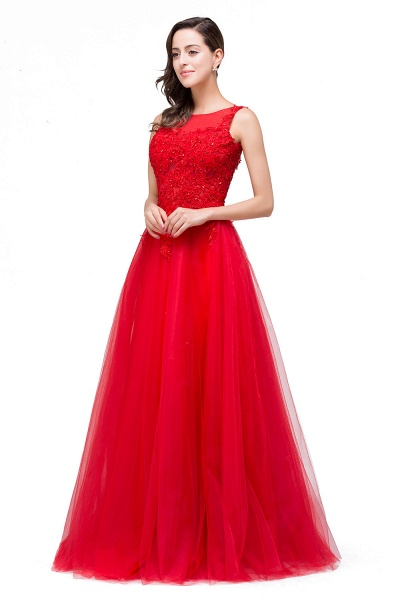 FIONA | A-Line Sleeveless Floor-Length Appliques Tulle Prom Dresses_6