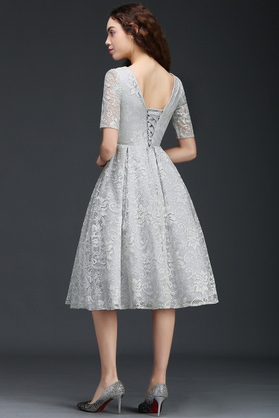 ALEXANDRA   A Line V Neck Lace Short Homecoming Dresses With Sleeves_4