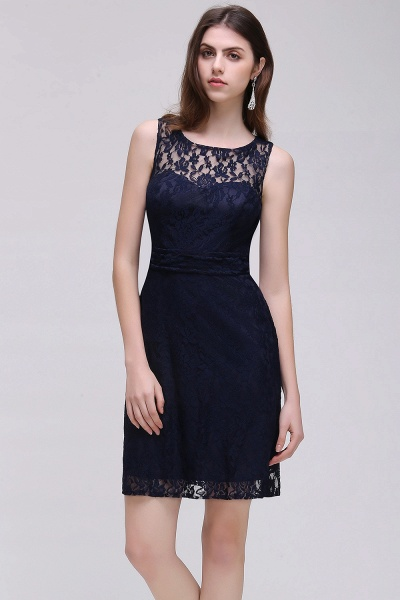CHARLEIGH |Sheath Scoop neck Short Navy Blue Lace Prom Dresses_1