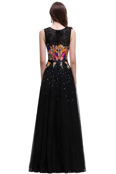 CAMERON   A-line Jewel Neck Tulle Black Prom Dresses with Embroidery Flowers_3