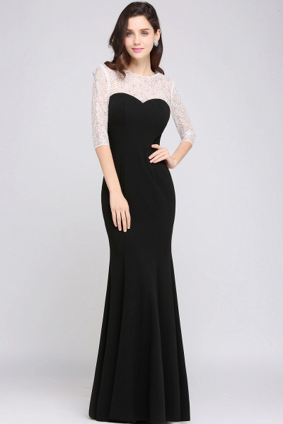 ARIEL | Mermaid Floor Length Black Cheap Evening Dresses with Lace_6