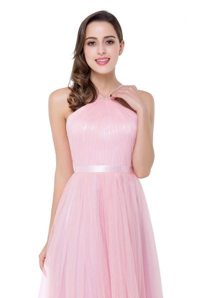 ELLIOTT   Sheath Floor-length Pink Tulle Bridesmaid Dresses with Ribbon Sash_9