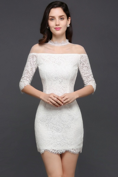 Affordable High Neck Lace Princess Evening Dress_1