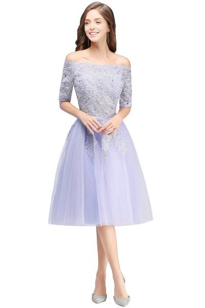 A-line Bateau Tulle Appliques Prom Dress_6