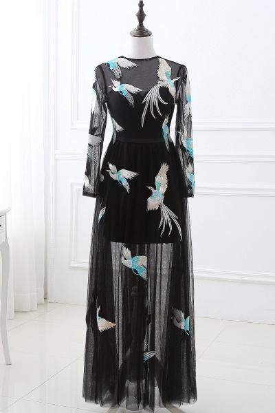 CHARLI | Sheath Round neck Embroidery Long Sleeves Black Prom Dress_1