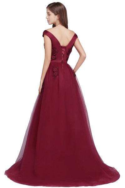 Sleek Off-the-shoulder Tulle A-line Evening Dress_7