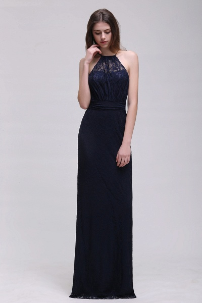 CHARLEE | Column Floor length Halter Navy blue Prom Dress_3