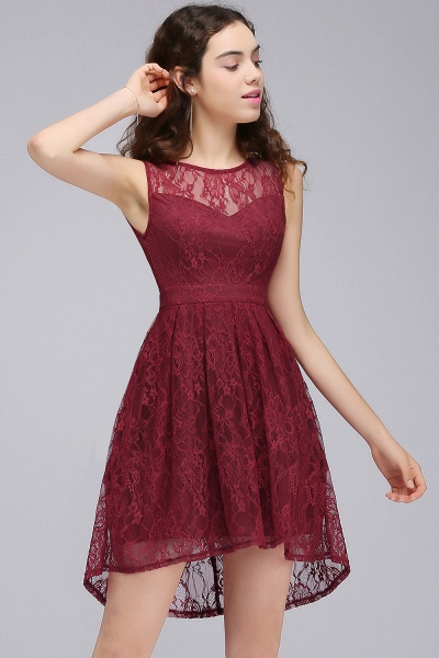 BRIELLE | A-Line Round Neck Short Lace Burgundy Homecoming Dresses_5