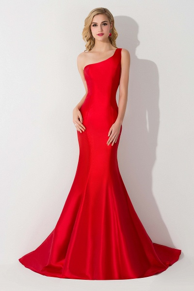 Elegant One Shoulder Satin Mermaid Evening Dress_6