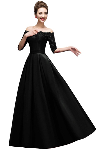 Elegant Off-the-shoulder Satin A-line Evening Dress_4