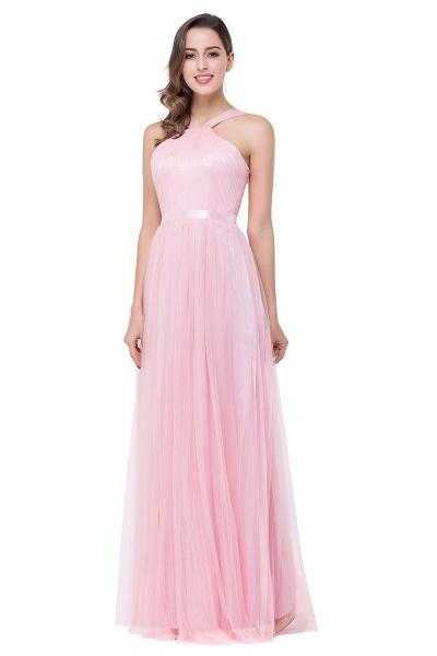 ELLIOTT   Sheath Floor-length Pink Tulle Bridesmaid Dresses with Ribbon Sash_4