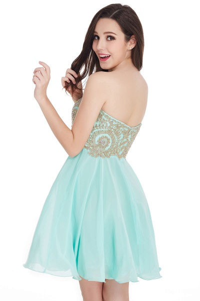 A-Line Strapless Short Chiffon Prom Dresses with Beadings_9