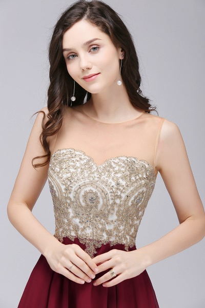 ALIANNA | Sheath Jewel Chiffon Short Homecoming Party Dresses With Applique_5