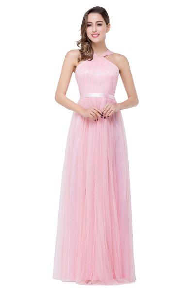 ELLIOTT   Sheath Floor-length Pink Tulle Bridesmaid Dresses with Ribbon Sash_2