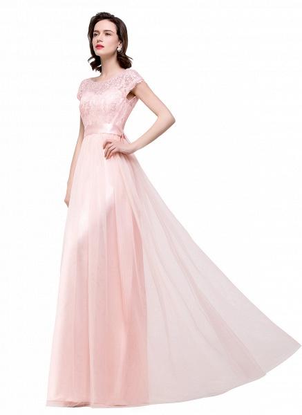 ELLIANA | A-line Short Sleeve Chiffon Bridesmaid Dresses with Ribbon Bow Sash_10