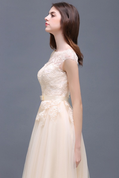 A-line Floor-Length Tulle Bridesmaid Dress With Lace Appliques_11