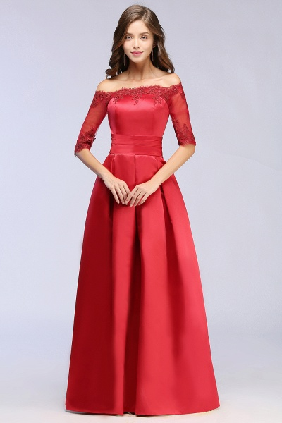 Elegant Off-the-shoulder Satin A-line Evening Dress_10