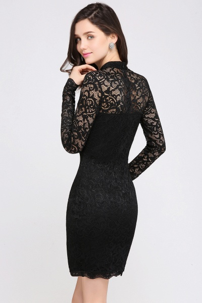 ARYANNA | Sheath High Neck Short Black Lace Cocktail Dresses_6