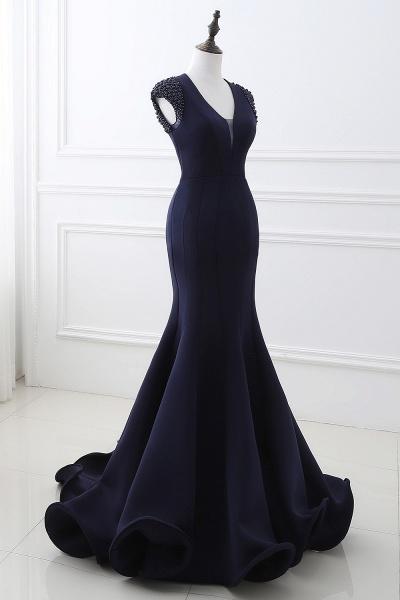 CAMILLA | Mermaid V-Neck Dark Navy Prom Dresses with Beading_4