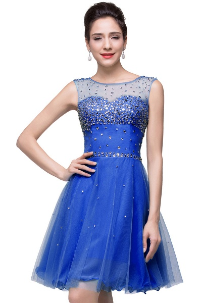ELIN | A-line Sleeveless Crew Short Tulle Prom Dresses with Crystal Beads_5