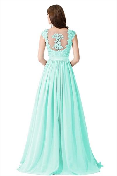 A-line V Neck Appliques Chiffon Bridesmaid Dress_12