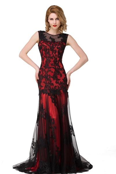 DANIELA | Scoop Neck Mermaid Black lace Applique Evening Prom dresses_2