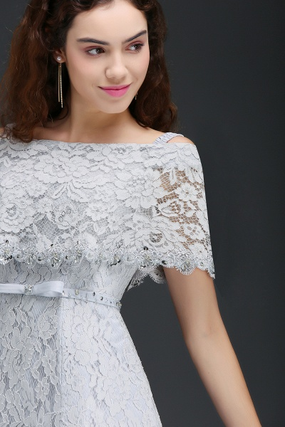 ALEXIS | A Line Off Shoulder Tea-Length Lace Homecoming Dresses With Sash_4