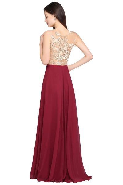 APRIL | A-line Scoop Chiffon Burgundy Pretty Evening Dresses_3