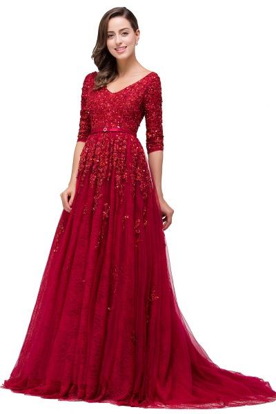 FRANCES | A-Line Floor-Length V-neck Half Sleeves Lace Appliques Prom Dresses_6