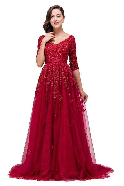 FRANCES | A-Line Floor-Length V-neck Half Sleeves Lace Appliques Prom Dresses_4