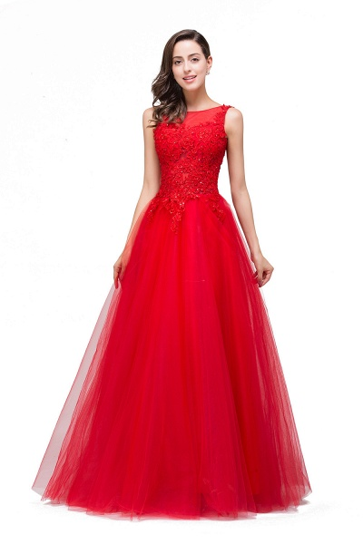 FIONA | A-Line Sleeveless Floor-Length Appliques Tulle Prom Dresses_4