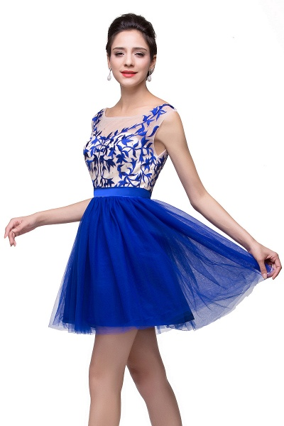 ELIZA | A-line Sleeveless Bateau Short Tulle Appliques Prom Dresses_10