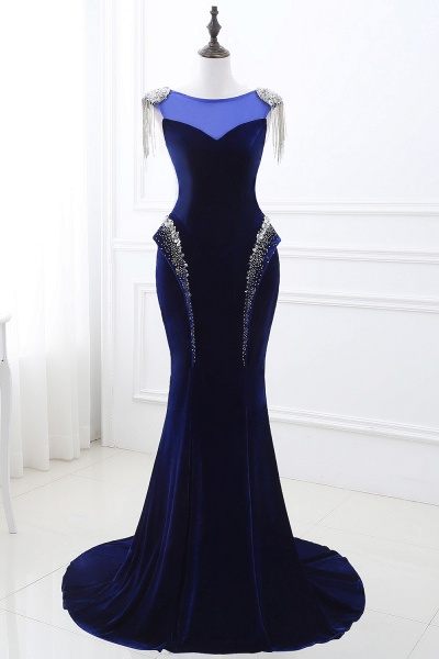 CHARLIE | Mermaid Velvet Navy Blue Royal Prom Dress with crystals_1