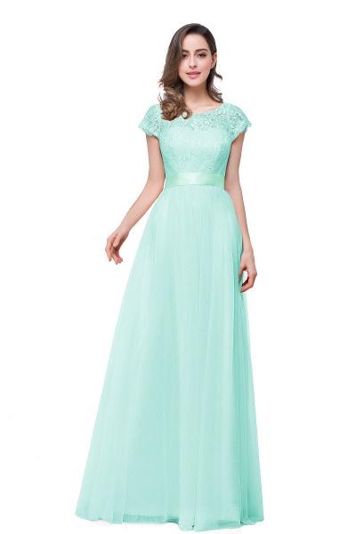 ELLIANA | A-line Short Sleeve Chiffon Bridesmaid Dresses with Ribbon Bow Sash_5