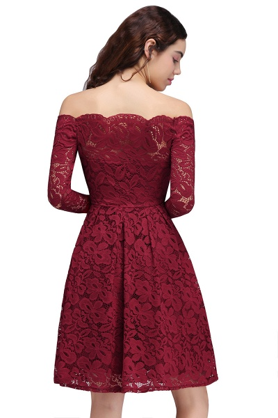 Lace A-Line Off-the-Shoulder Burgundy Short Homecoming Dress_3