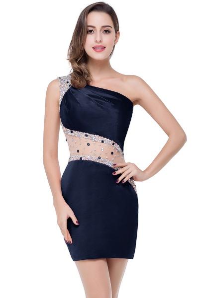 ELLE | Mermaid One-shoulder Short Prom Dresses with Crystal Beadings_4