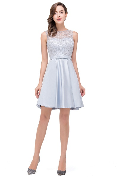 EMERY | A-Line Knee Length Sleeveless Lace Short Prom Dresses_1