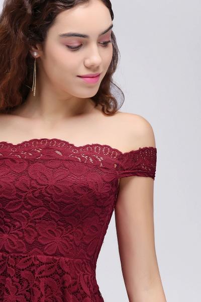 Burgundy Off-the-shoulder Lace Cheap Party Dresses_6