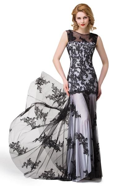 DANIELA | Scoop Neck Mermaid Black lace Applique Evening Prom dresses_13