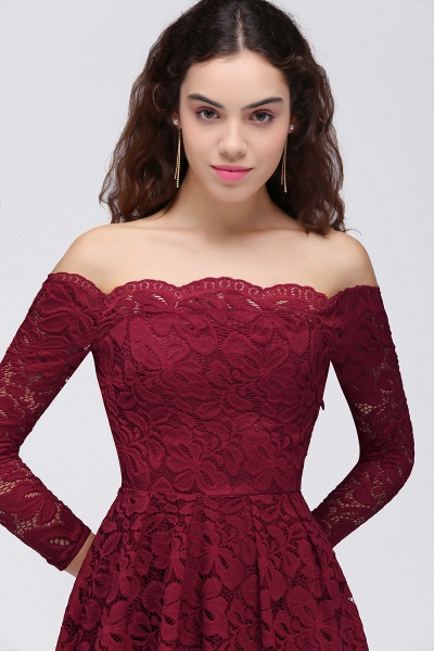 Lace A-Line Off-the-Shoulder Burgundy Short Homecoming Dress_5