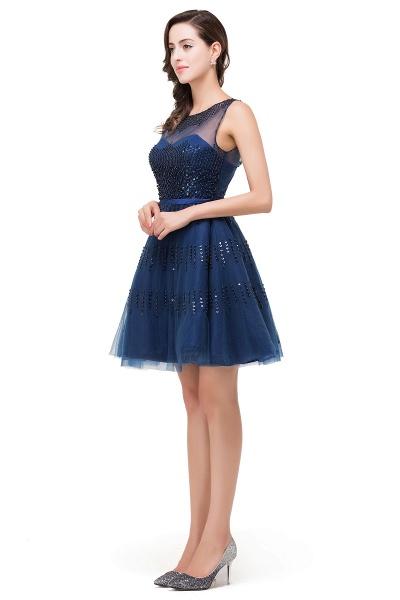 FATIMA | A-Line Sleeveless Crew Tulle Appliques Short Prom Dresses_8