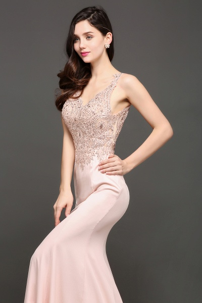Modest V-neck Stretch Satin Mermaid Evening Dress_6
